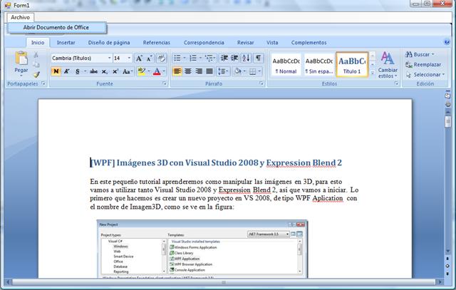 Cargar Archivos De Office 2007 En Un Formulario De Windows